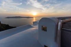 Stadt von Imerovigli, Santorini, Stockbild