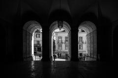 Stadt von Lissabon in Schwarzweiss Lizenzfreie Stockfotos