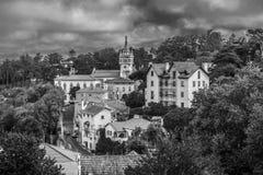 Stadt von Lissabon in Schwarzweiss Lizenzfreies Stockfoto