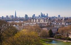Stadt von London-Ansicht vom Greenwich-Hügel Lizenzfreie Stockfotografie