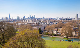 Stadt von London-Ansicht vom Greenwich-Hügel Lizenzfreie Stockfotos