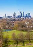 Stadt von London-Ansicht vom Greenwich-Hügel Stockbild
