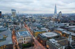 Stadt von London, Geschäft und ein Bankkonto haben Bereich Londons Panorama am Sonnensatz Stockfotografie