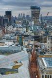 Stadt von London, Geschäft und ein Bankkonto haben Bereich Londons Panorama am Sonnensatz Lizenzfreies Stockbild