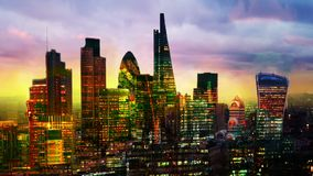 City of London, business and banking aria at sunset. View from the St. Paul cathedral. Multiple exposure image Stock Footage