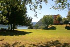 Stadt von Lugano, die Schweiz lizenzfreie stockbilder