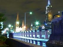 Stadt von Melbourne in der Nacht. Lizenzfreie Stockfotografie