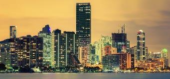 Stadt von Miami, Sommersonnenuntergang Lizenzfreies Stockbild