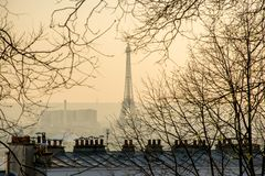 Stadt von Paris-Ansicht mit dem Eiffelturm und den Pariser Dachspitzen Lizenzfreie Stockfotografie