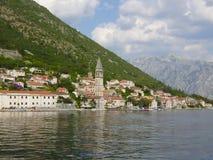 Stadt von Perast, Golf Kotor, Küste von Montenegro Stockfotos