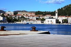 Stadt von Ploce-Ansicht vom Dock Stockfotografie