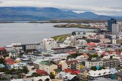 Stadt von Reykjavik von der Spitze Lizenzfreies Stockfoto