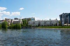 Stadt von Samara mit der Wolga Stockbild