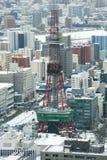 Stadt von Sapporo, Japan im Winter lizenzfreies stockfoto