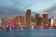 Stadt von Sonnenuntergang Miamis Florida Stockfoto