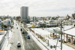 Stadt von Tokyo bedeckte im Schnee Lizenzfreie Stockfotografie