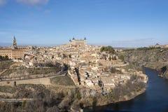 Stadt von Toledo Alcazar Cathedral und von Tajo spanien Stockfoto