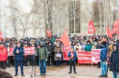 Stadt von Ulyanovsk, Russland, march23, 2019, eine Sammlung von Kommunisten gegen die Reform der russischen Regierung lizenzfreie stockfotografie