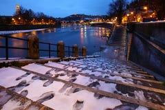 Stadt von Verona-Ansicht unter den Schnee stockbilder