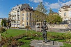 Stadt von Vevey und Monument von Charlie Chaplin, die Schweiz stockfotos