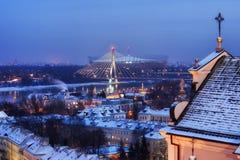 Stadt von Warschau-Winter-Abend-Stadtbild lizenzfreie stockfotos