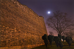 Stadt-Wand-Mond Stars Nacht Peking China lizenzfreie stockbilder