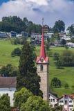 Stadt Weggis auf Lucerne See Stockfoto