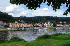 STADT WEHLEN. GERMANY - AUGUST 04, 2016. A view to Stadt Wehlen and Elbe river on a summer day Stock Photos