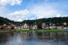 STADT WEHLEN. GERMANY - AUGUST 04, 2016. A view to Stadt Wehlen and Elbe river on a summer day Royalty Free Stock Photos