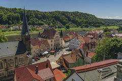 Stadt Wehlen in valley of river Labe Royalty Free Stock Image