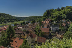 Stadt Wehlen in valley of river Labe. Or Elbe in spring sunny day Royalty Free Stock Photos
