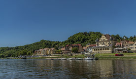 Stadt Wehlen in valley of river Labe. Or Elbe in spring sunny day Royalty Free Stock Images