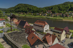 Stadt Wehlen in valley of river Labe. Or Elbe in spring sunny day Royalty Free Stock Photography