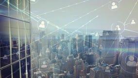 Stadt-Wolkenkratzervideo stock abbildung