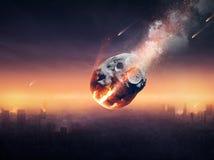 Stadt zerstört durch Meteorschauer Stockbild