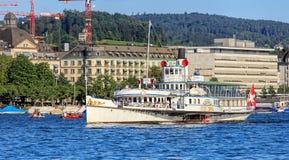 Stadt Zurich ship on Lake Zurich. Zurich, Switzerland - 20 July, 2016: Stadt Zurich ship on Lake Zurich approaching the city of Zurich. The Stadt Zurich is the Stock Images