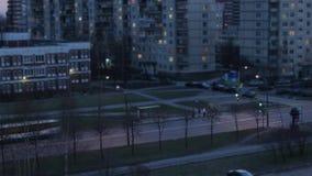 Stadtabend-Nachtzeitversehen stock footage