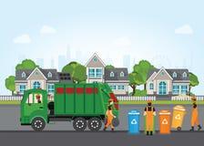 Stadtabfallaufbereitungskonzept mit Müllwagen und Abfall coll stock abbildung