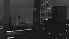 Stadtanimationen nachts gesehen vom Himmel vektor abbildung