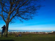 Stadtansicht EDINBURGHS, SCHOTTLAND 28. Februar 2016 - von Meer, Gebäude, Baum von Edinburgh von in Calton-Hügel zentrales Edinbu Lizenzfreie Stockbilder
