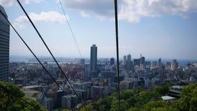 Stadtansicht von Kobe von der Drahtseilbahn stock video footage