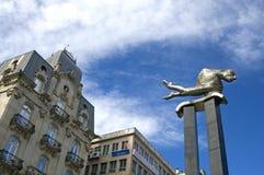 Stadtansicht von Vigo mit moderner Grafik und Gebäuden Lizenzfreies Stockfoto