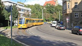 Stadtbahn tram on a street of  the city stock footage