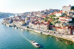 Stadtbild über dem Duero-Fluss, Porto, Portugal Lizenzfreie Stockfotografie