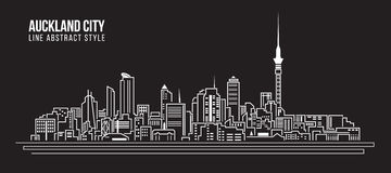 Stadtbild-Baulinie Kunst Vektor-Illustrationsdesign - Auckland-Stadt Stockfoto