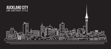 Stadtbild-Baulinie Kunst Vektor-Illustrationsdesign - Auckland-Stadt Lizenzfreie Stockbilder