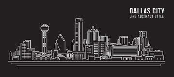 Stadtbild-Baulinie Kunst Vektor-Illustrationsdesign - Dallas City Stockbilder