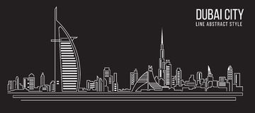 Stadtbild-Baulinie Kunst Vektor-Illustrationsdesign (Dubai-Stadt) Stockfotos