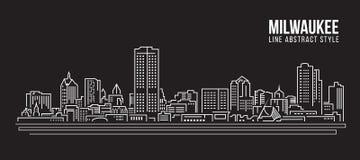Stadtbild-Baulinie Kunst Vektor-Illustrationsdesign - Milwaukee-Stadt Lizenzfreies Stockbild