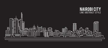 Stadtbild-Baulinie Kunst Vektor-Illustrationsdesign - Nairobi-Stadt